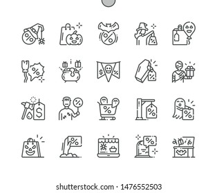 Halloween sale Well-crafted Pixel Perfect Vector Thin Line Icons 30 2x Grid for Web Graphics and Apps. Simple Minimal Pictogram
