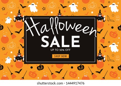 Halloween Sale with witch, pumpkin, broom, ghost, and bat. seamless banner and background   vector illustration