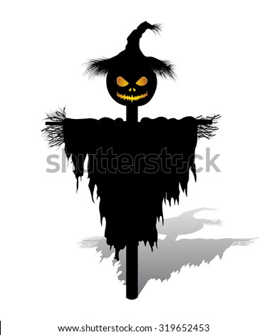 Halloween scarecrow with pumpkin for head. Vector Scarecrow. Isolated Scarecrow on White Background.