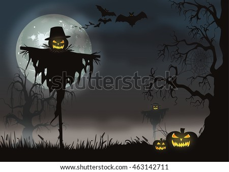 Halloween scarecrow, pumpkins and bats on a misty moonlit night.