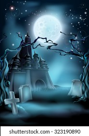 Halloween scary castle graveyard background with a spooky haunted castle, spooky trees and graves and a full moon