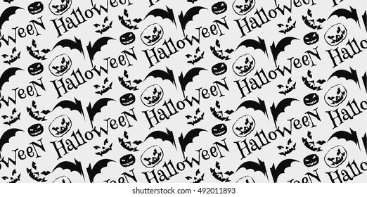 Halloween scary faces seamless background. Vector Illustration.