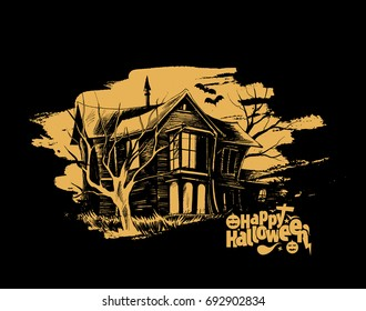Halloween - Scary farmhouse Hand Drawn Sketch Vector background