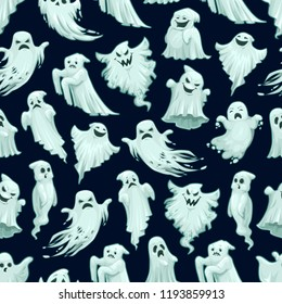 Halloween scary ghost pattern background of flying white ghost monster with scary horror face face. Vector cartoon seamless trick or treat party black design