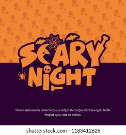Halloween Scary Night typography design vector