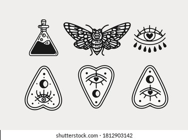 halloween scary occult witchcraft vector illustrations, elements for graphic design projects, clip art flashsheet. isolated graphics for logos invitations, icons , tattoos and creative projects.