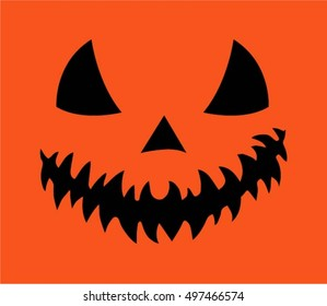 Halloween, scary pumpkin, orange background