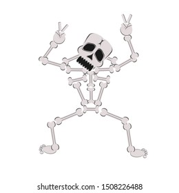 Halloween scary skeleton, funny cartoon character. Vector illustration.