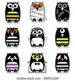 Halloween scary, spooky, mummy, cyclops, vampire. Monster, zombie owls in clour in label style