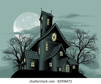 Halloween scene. Illustration of a spooky haunted ghost house