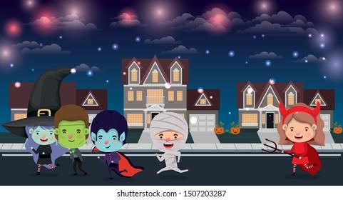 halloween scene with kids costumed in the neighborhood