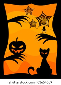 Halloween scenery background - cat, scary pumpkin and spider