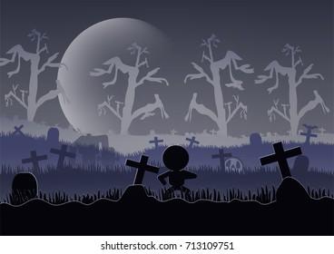 Halloween scenery with big moon at night.