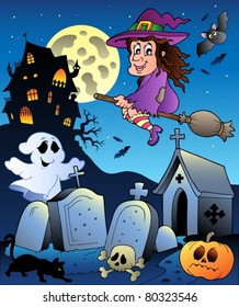 Halloween scenery with cemetery 5 - vector illustration.