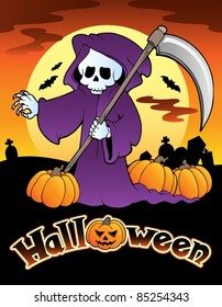 Halloween scenery with sign 4 - vector illustration.