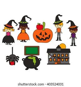 Halloween at school vector.