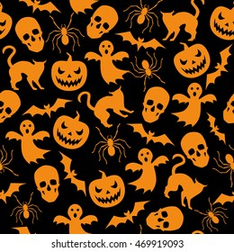 Halloween seamless background with ghost and pumpkin. Vector black pattern