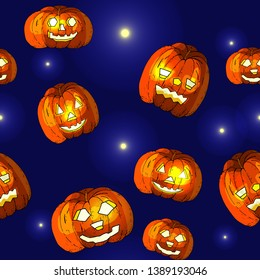 Halloween seamless background with pumpkin. Vector hand drawn pattern. Wallpaper for marketing, advertising, promotion, branding and media, textile and fabric. Fashion style. Colorful bright