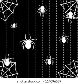 Halloween seamless background with spiders and web
