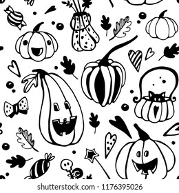 Halloween seamless balck and white pattern with different pumpkins. Vector seamless background for children colouring
