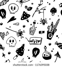 Halloween seamless black and white pattern with poisonous elements: spiders, skulls, mushrooms. Seamless background. Seamless pattern for children colouring