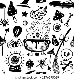 Halloween seamless black and white vector background with witch elements. Seamless background for children colouring