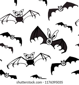 Halloween seamless black and white vector pattern with bats. Good for packaging design, halloween packaging paper, thematical background