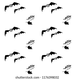 Halloween seamless black and white vector pattern with bats and leaves. Good for packaging design, halloween packaging paper, thematical background.
