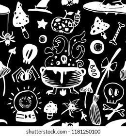 Halloween seamless black and white vector background with witch elements: poisonous mushrooms, hats, spiders, skulls, bones,  witch broom, cauldron with potion