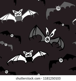 Halloween seamless dark vector pattern with bats. Good for packaging design, halloween packaging paper, thematical background