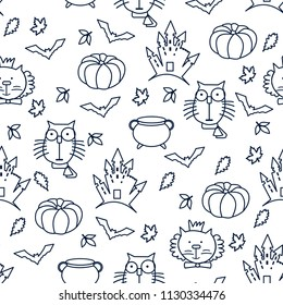 Halloween seamless patten with bats, cat and pumpkin, leaves. Line