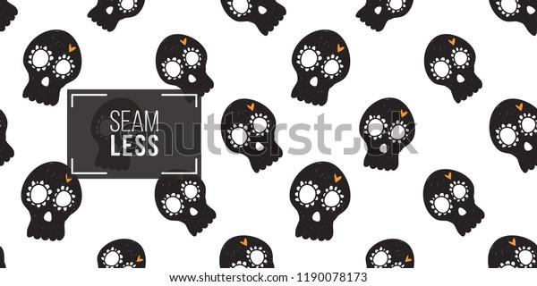 3e09861d01f Halloween Seamless Pattern Black Mexican Skull Stock Vector (Royalty ...