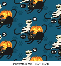 Halloween seamless pattern with Black mummy cat, Black witch cat, skull, fishbone and footprints.