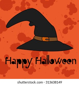 Halloween seamless pattern with black witch's hat. halloween design element on orange background with blood