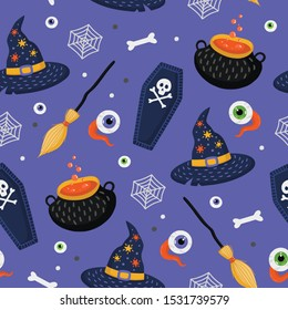 Halloween seamless pattern with broom, witch hat, spooky eyes and witches brew pot. Hand drawn vector illustration. Endless texture for fabric, background, wrapping paper.