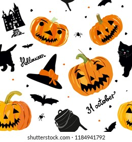 Halloween seamless pattern with castle, pumpkins, cat, hut on white background. For wrapping paper, cards, posters, banners.