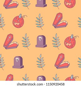Halloween. Seamless pattern. Coffins, gravestones, skulls and scary pumpkins. Vector illustration. Packaging paper design, print for fabric.
