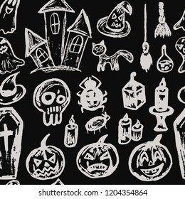 Halloween. Seamless Pattern Collection of festive elements. Autumn holidays. Pumpkin, coffin, skull, candle, spider, broom, potion, ghosts, sinister castle, cat