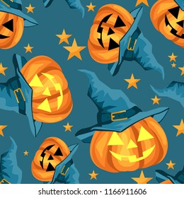 Halloween seamless pattern with cute Halloween pumpkin with witches hat and stars.