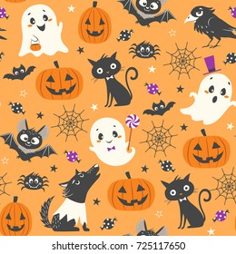 Halloween seamless pattern with cute pumpkins, ghosts, black cat, bats, raven, skin-walker and sweets on orange background.