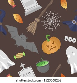 Halloween seamless pattern with dark background. Pumpkin, ghost, broom, cauldron, bat, gravestone and web. Vector illustration.
