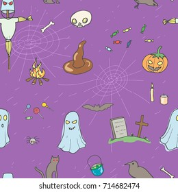 Halloween seamless pattern design with skull, pumpkin, candy, ghost, raven, grave, scarecrow and cat