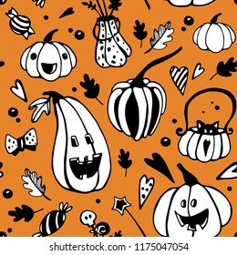 Halloween seamless pattern with different pumpkins. Vector seamless background
