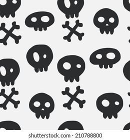 Halloween seamless pattern with hand drawn doodle skulls and crossed bones. Holiday tiling background.