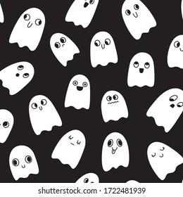 Halloween seamless pattern. Little cute ghosts