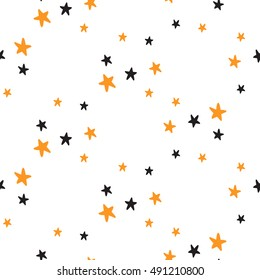 Halloween seamless pattern with little stars. Beautiful vector background for decoration halloween designs. Cute minimalistic art elements on white backdrop.
