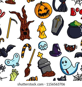 Halloween seamless pattern. October festive colourful cartoon background. Funny holiday vector illustration. Pumpkin, skull and zombie doodle