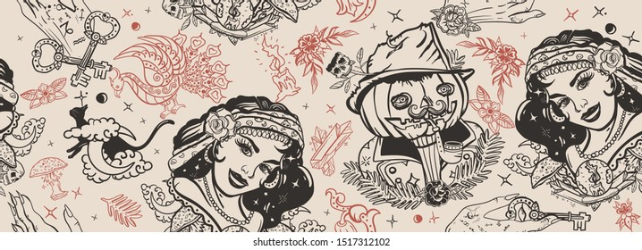 Halloween seamless pattern. Old school tattoo. Retro gothic fairy tale background. Witch woman, gypsy, crystal ball, Jack O' Lantern, occult hands and black cats. Traditional vintage tattooing style