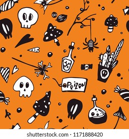 Halloween seamless pattern with poisonous elements: spiders, skulls, mushrooms. Seamless vector background.
