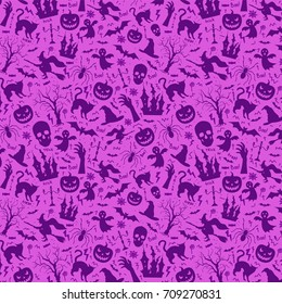 Halloween seamless pattern with pumpkin, castle, skull, ghost, tree, cat, zombie hand, hat and spider. Purple background or seamless texture.